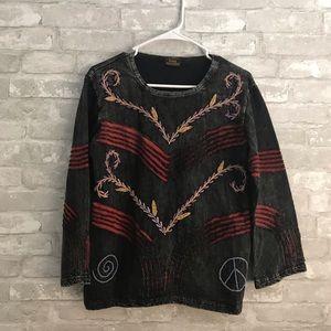 Rising International Boho Tunic Embroidered Top